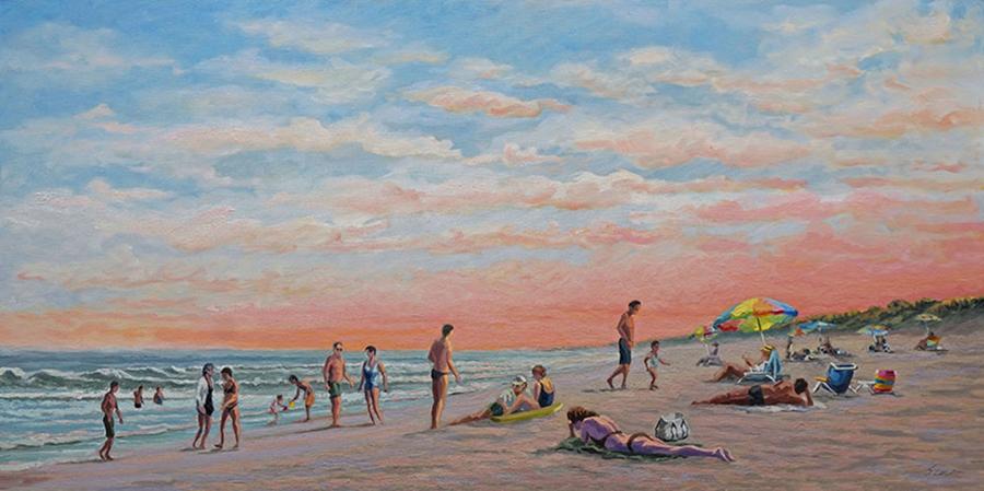 Ocean Beach Bathers, 24 x 48 inches, oil on canvas