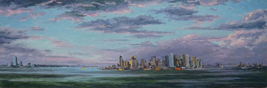 Whole Harbor, 16 x 48 inches,oil on canvas