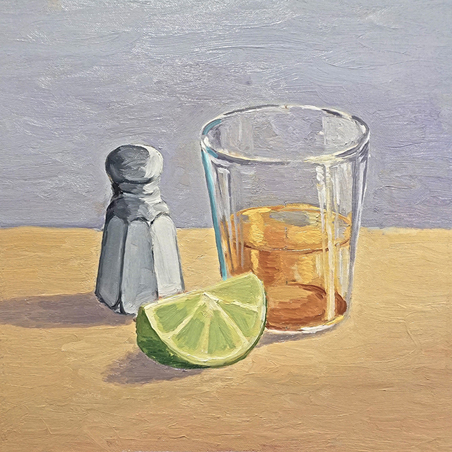 A Lick, a Shot, a Lime, 11 x 11 inches, oil on canvas