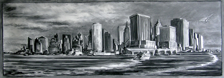 Manhattan Up Close, 30 x 90 inches, charcoal on paper, 2007
