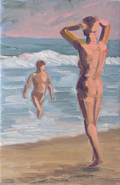 Twilight Bathers, 12 x 8 inches, oil on canvas, 2012