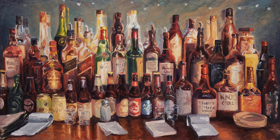 Harbor Bistro, 18 x 36 inches, oil on canvas