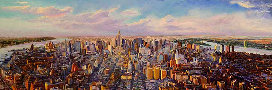 Mid-Town Twilight, 20 x 60 inches, oil on canvas, 1999