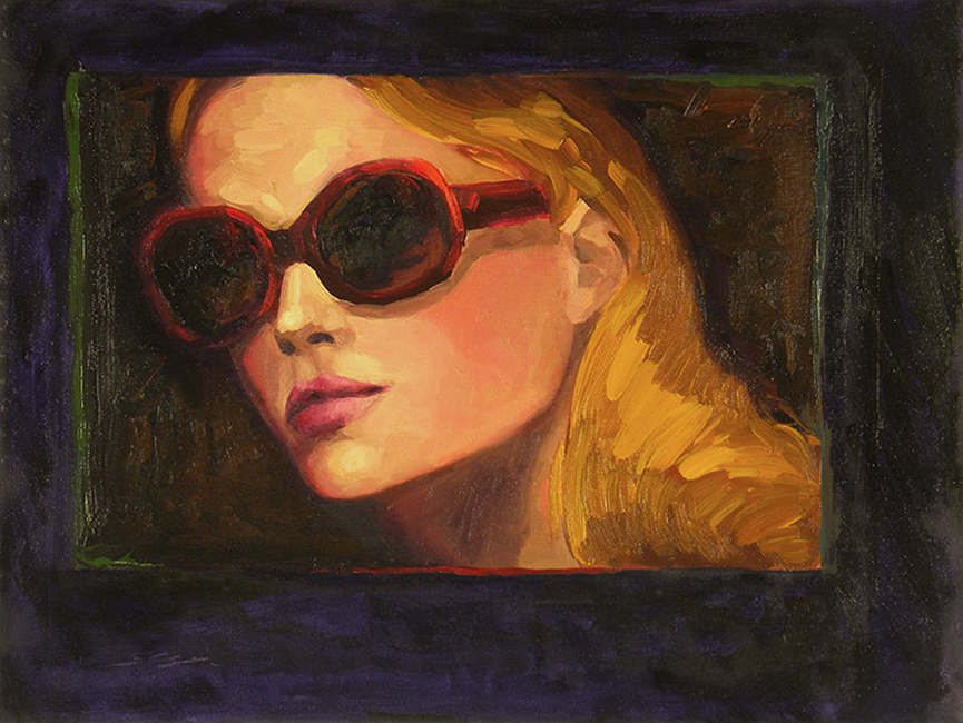 Sunglass Queen, 11 x 14 inches, oil on canvas, 2010