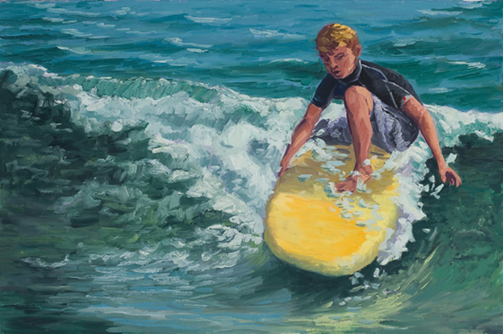 Boy on a Board, 20 x 30 inches, oil on canvas, 2009