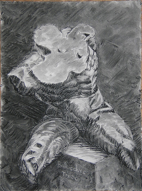Belvedere Torso, 22 x 30 inches, charcoal on paper, 2002