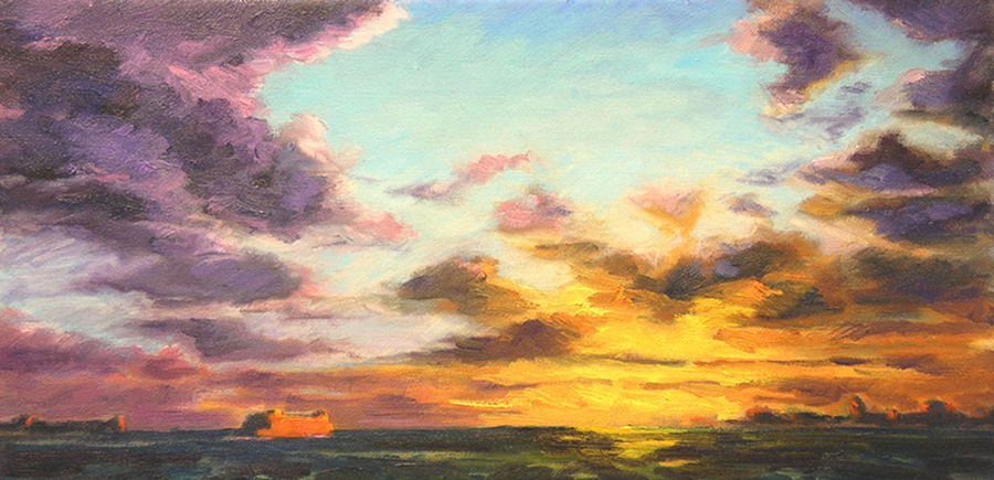 New York Harbor Sunset, 10 x 20 inches, oil on canvas, 2009