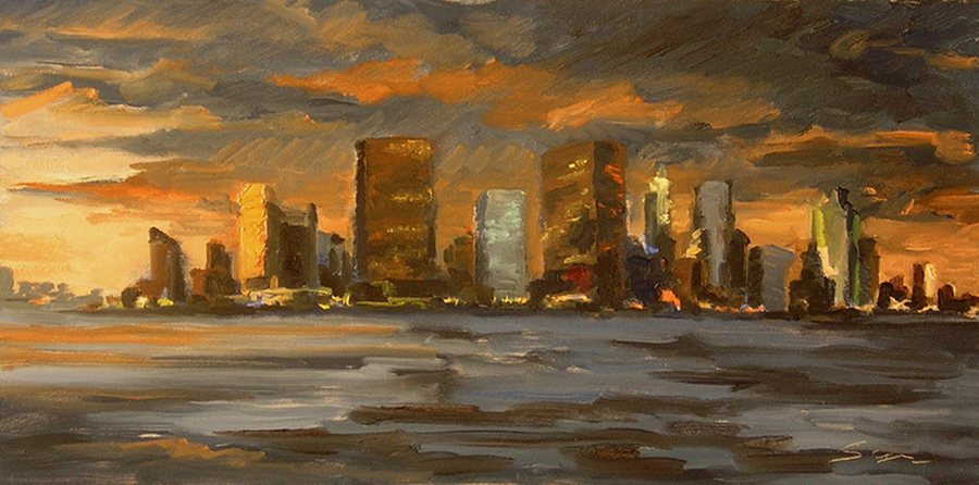 Manhattan Late Evening, 8 x 16 inches, oil on panel, 2007