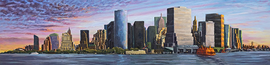 Manhattan Early Morning, 24 x 96 inches