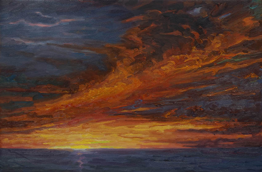 Late Fall Sunset, 20 x 30 inches, oil on canvas, 2015