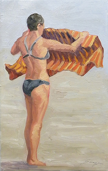 Bather with Towel, 12 x 16 inches, oil on canvas