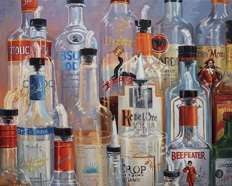 Mostly Empties, 32 x 40 inches, oil on canvas