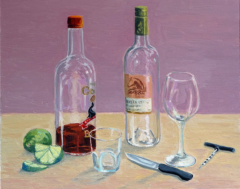 Rum and Wine, 16 x 20 inches, oil on canvas