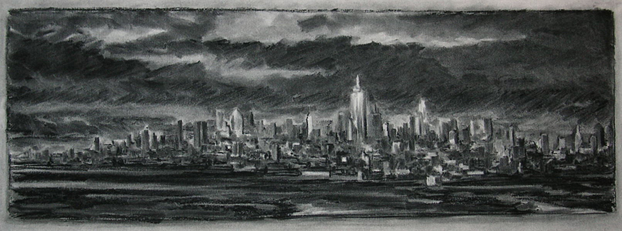 West Side, 16 x 48 inches, charcoal on paper
