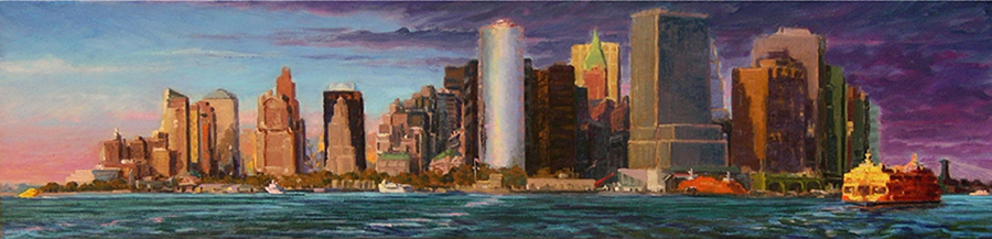 Twilight Harbor Golden Ferry, 10 x 40 inches, oil on canvas, 2008