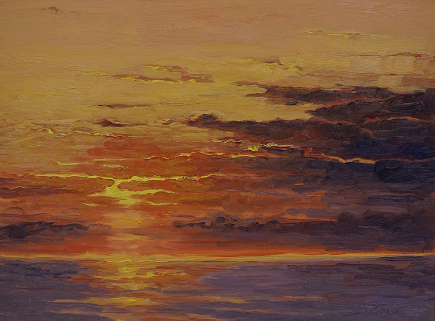 Sunset Surface, 18 x 24 inches, oil on canvas, 2017
