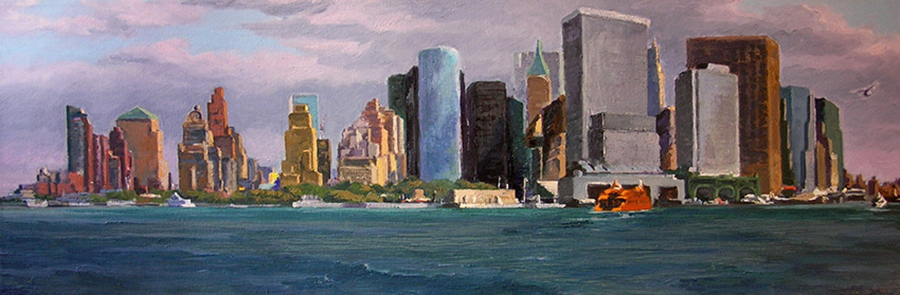 Manhattan from G.I. 12 x 36 inches, oil on canvas, 2007