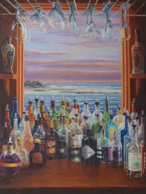 Drinks at the Inlet, 36 x 48 inches, oil on canvas