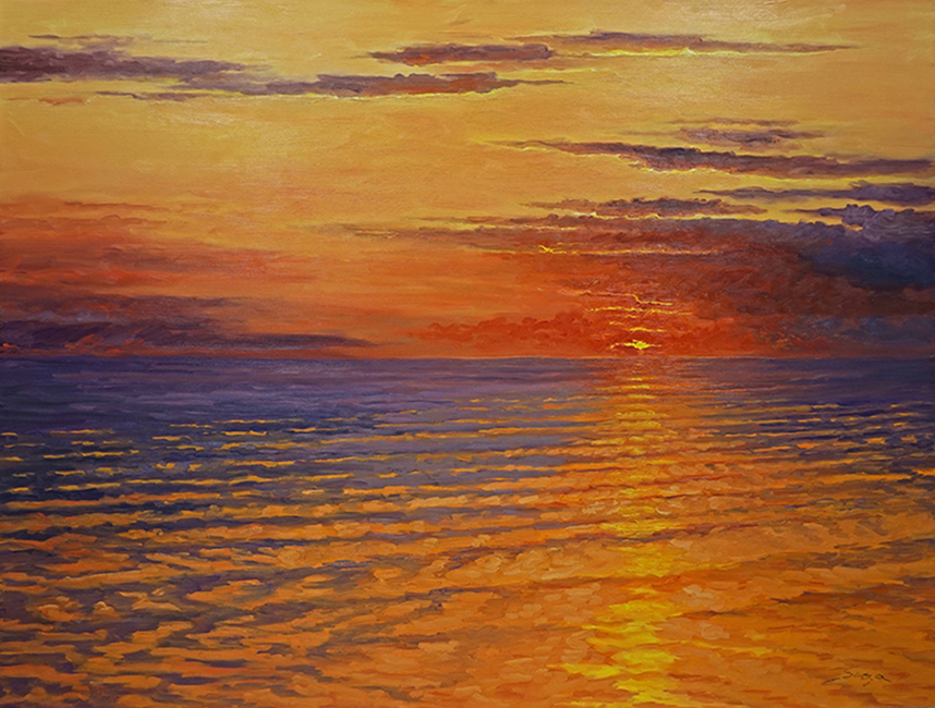 Orange Sky Late Summer, 42 x 56 inches, oil on canvas
