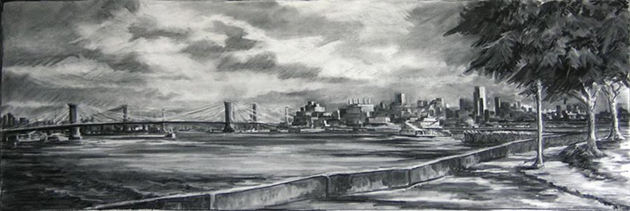 Brooklyn and East River, 30 x 90 inches, charcoal on paper, 2007