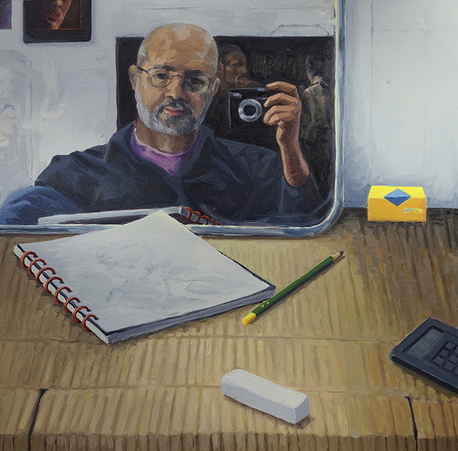 Artist at Work, 32 x 32 inches, oil on canvas