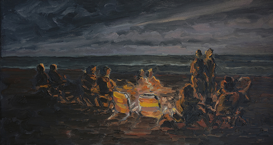 Beach Fire, 12 x 24 inches, oil on canvas, 2017