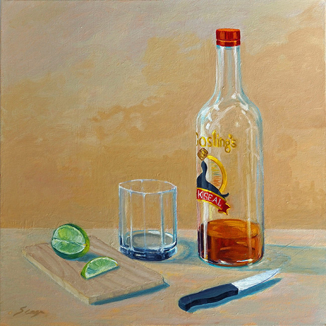 Drinking alone, 20 x 20 inches, oil on canvas