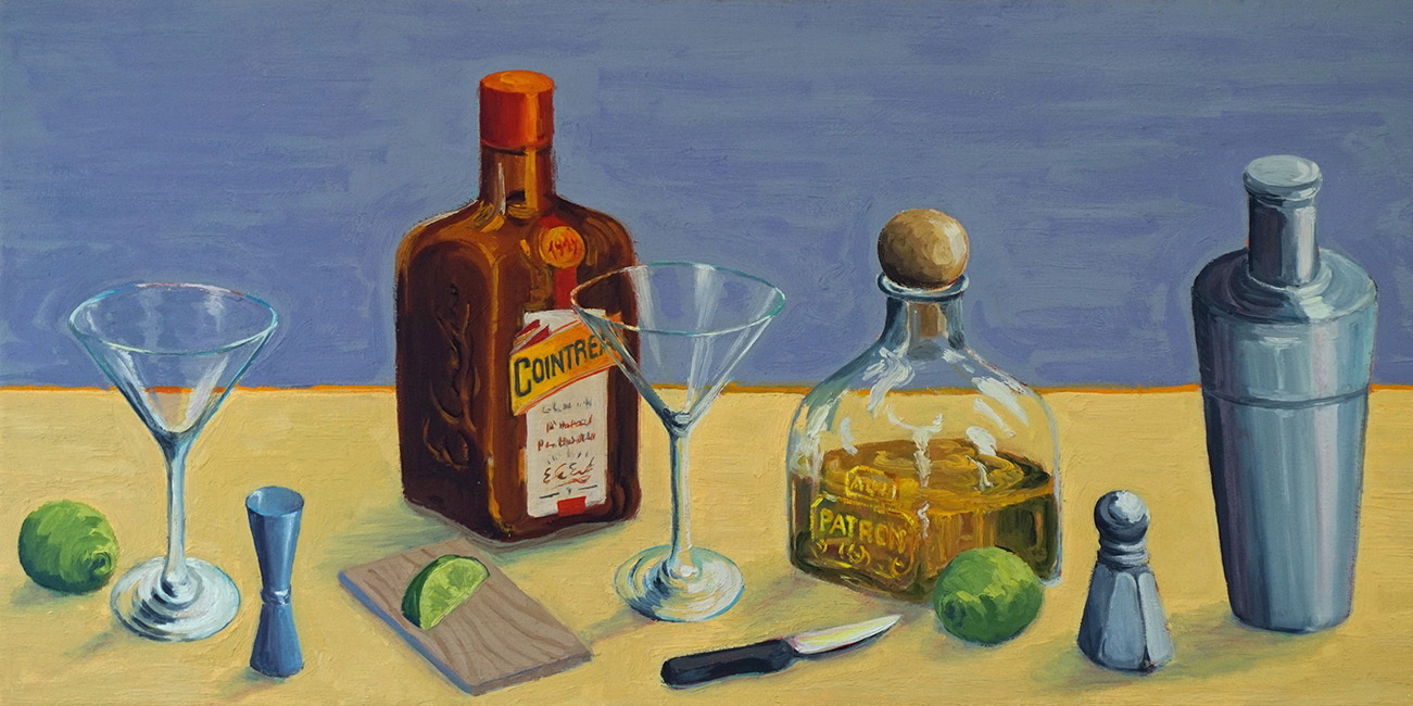 Margaritas for two, 12 x 36 inches, oil on canvas